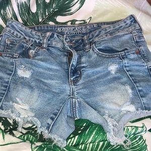 American Eagle Midi Distressed Shorts